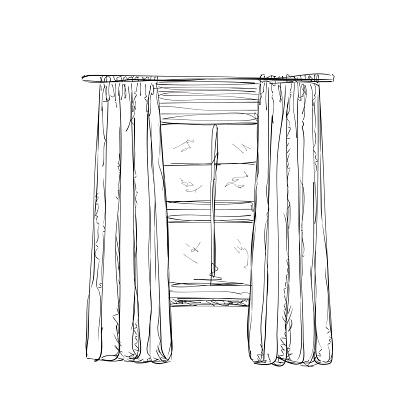 Abbildung Eines Fenster Und Vorhänge Skizze Stock Vektor ...
