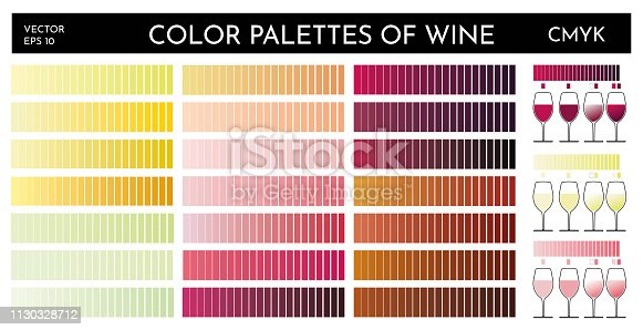 Illustration of wine color palette. Tones of different types of wine, red, white and pink. Graphic elements for designers. Range colors CMYK. Vector shapes.