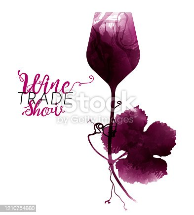 istock illustration of wine glass and vine leaf with tendrils Artistic illustration with red wine stains. 1210754660
