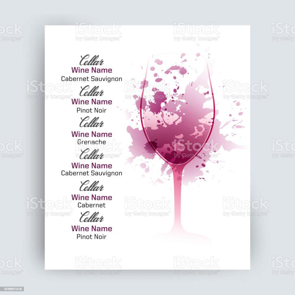 Illustration De Verre De Vin Avec Des Taches De Vin Épars Exemple De Texte Pour Menu Carte Des Vins Ou Dégustation De Vins Vecteurs libres de droits