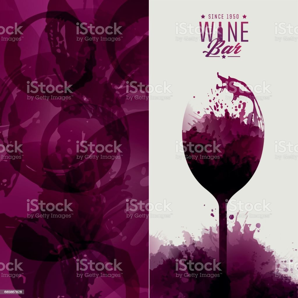 Illustration of wine glass with stains vector art illustration