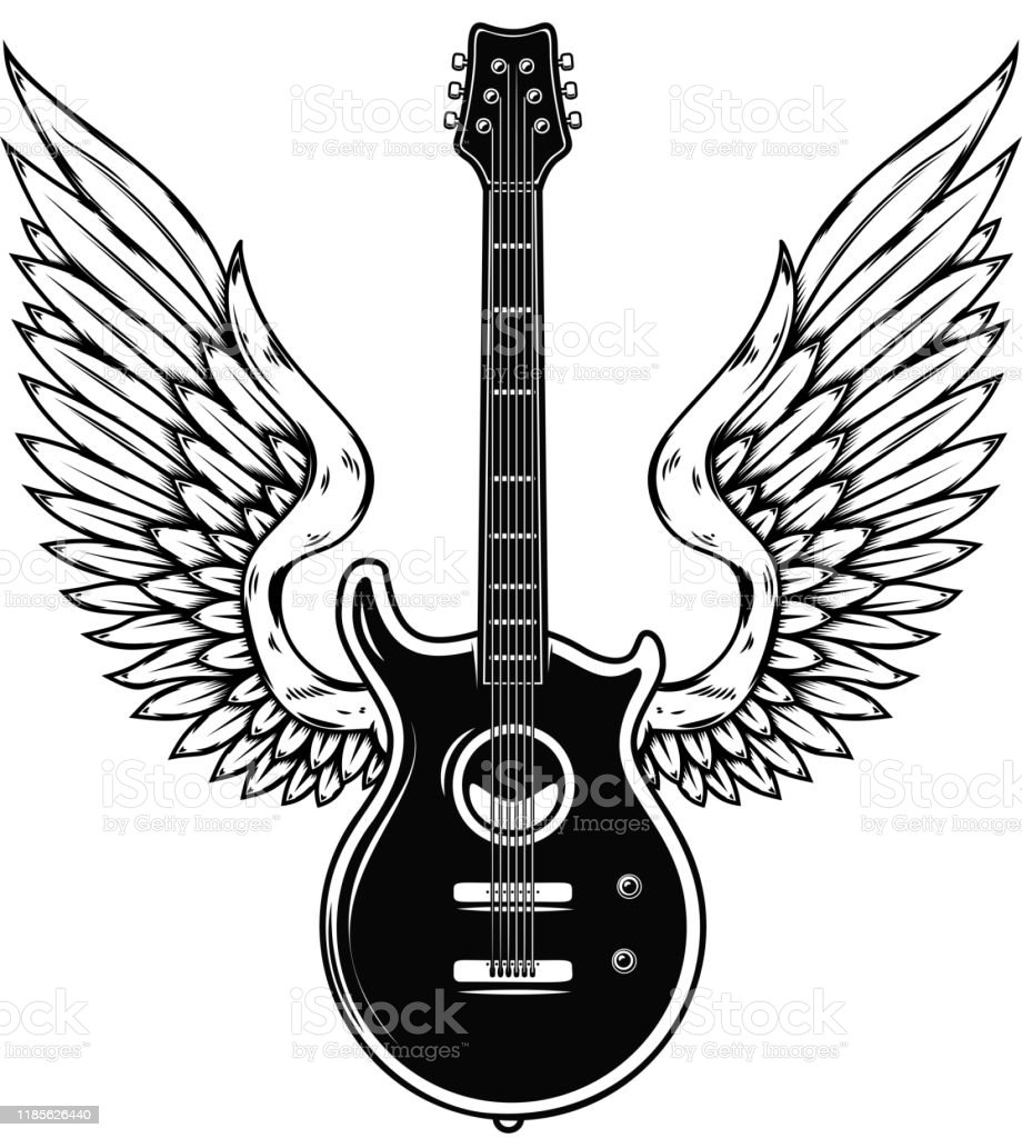 Illustration Of Winged Guitar Isolated On White Background Design Element For Poster Banner Sign Emblem Vector Illustration Stock Illustration Download Image Now Istock