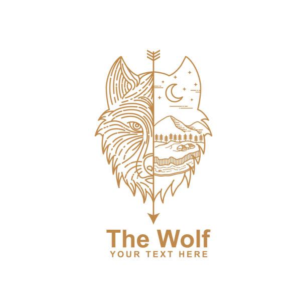 bildbanksillustrationer, clip art samt tecknat material och ikoner med illustration av wolf line art - varg