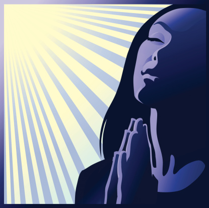 Illustration of woman praying with the sun shining down