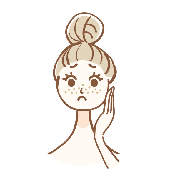 illustrations, cliparts, dessins animés et icônes de illustration de la femme qui s'inquiète de la saleté des pores - femme tache de rousseur