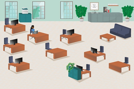 Illustration of. woman working alone in office