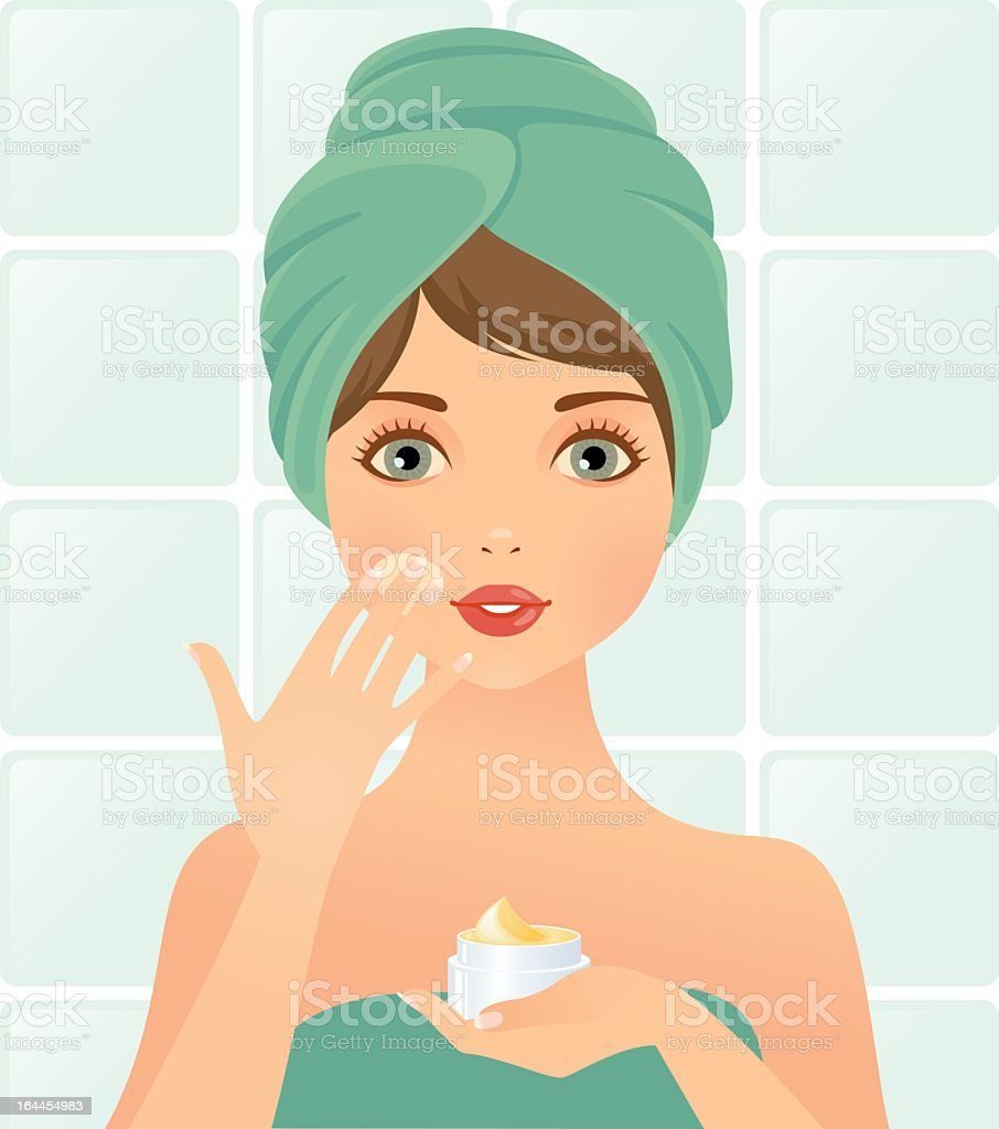 Illustration of woman wrapped in towels applying face mask royalty-free stock vector art