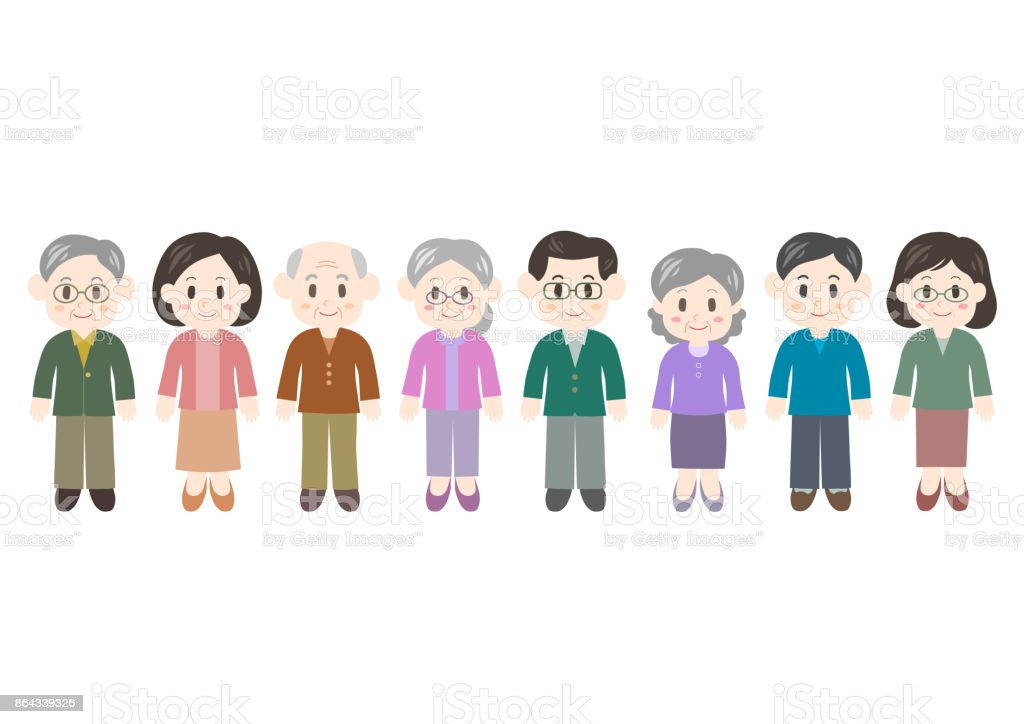 Illustration of women and men(middle and old age) vector art illustration