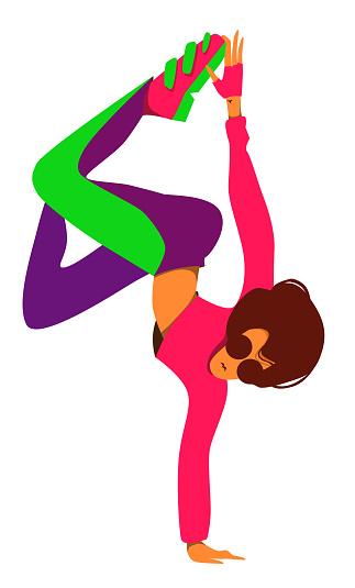 illustration of woomen breakdancer. Vector isolated character.