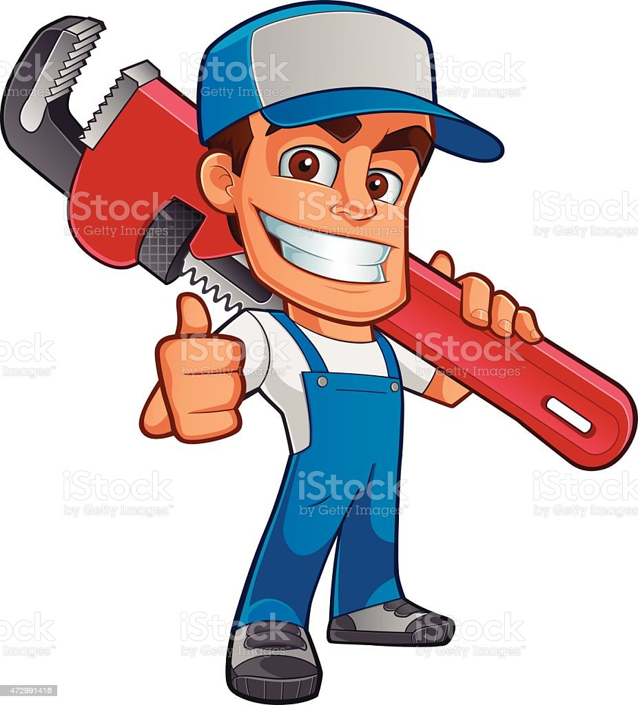 Illustration of workman with oversized wrench over shoulder vector art illustration