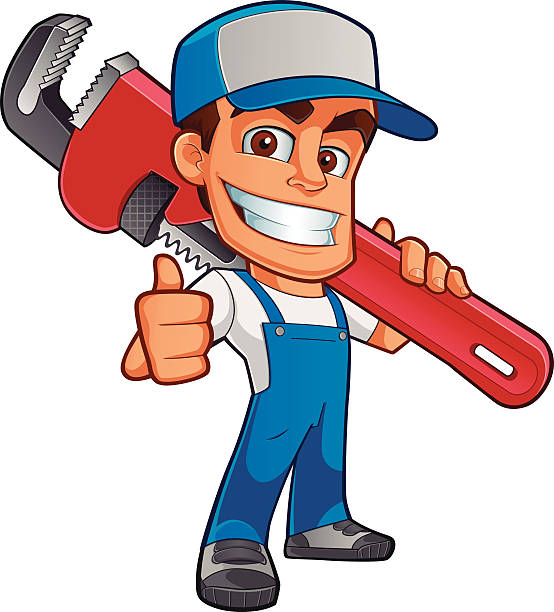 Illustration of workman with oversized wrench over shoulder  Likeable plumber, he is dressed in work clothes and carrying a tool pipefitter illustrations stock illustrations