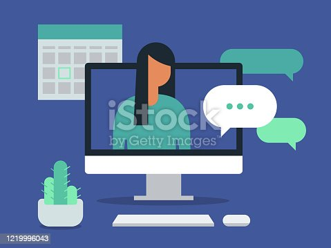 istock Illustration of workspace with young woman having discussion on desktop computer screen 1219996043