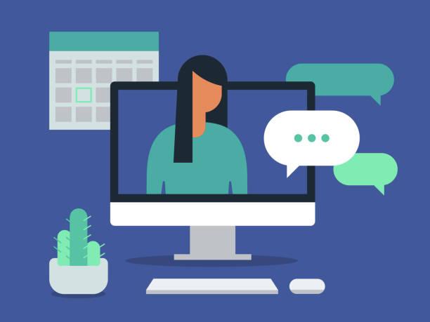 ilustrações de stock, clip art, desenhos animados e ícones de illustration of workspace with young woman having discussion on desktop computer screen - computer