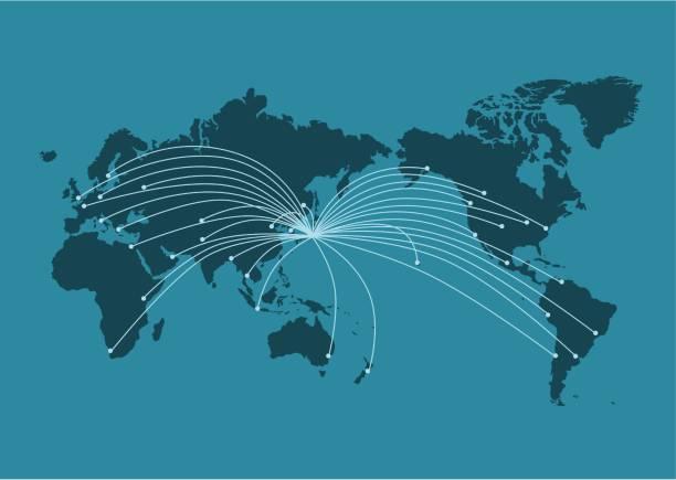 世界 map(business,internet,globalization) のイラスト - 地球 日本点のイラスト素材/クリップアート素材/マンガ素材/アイコン素材