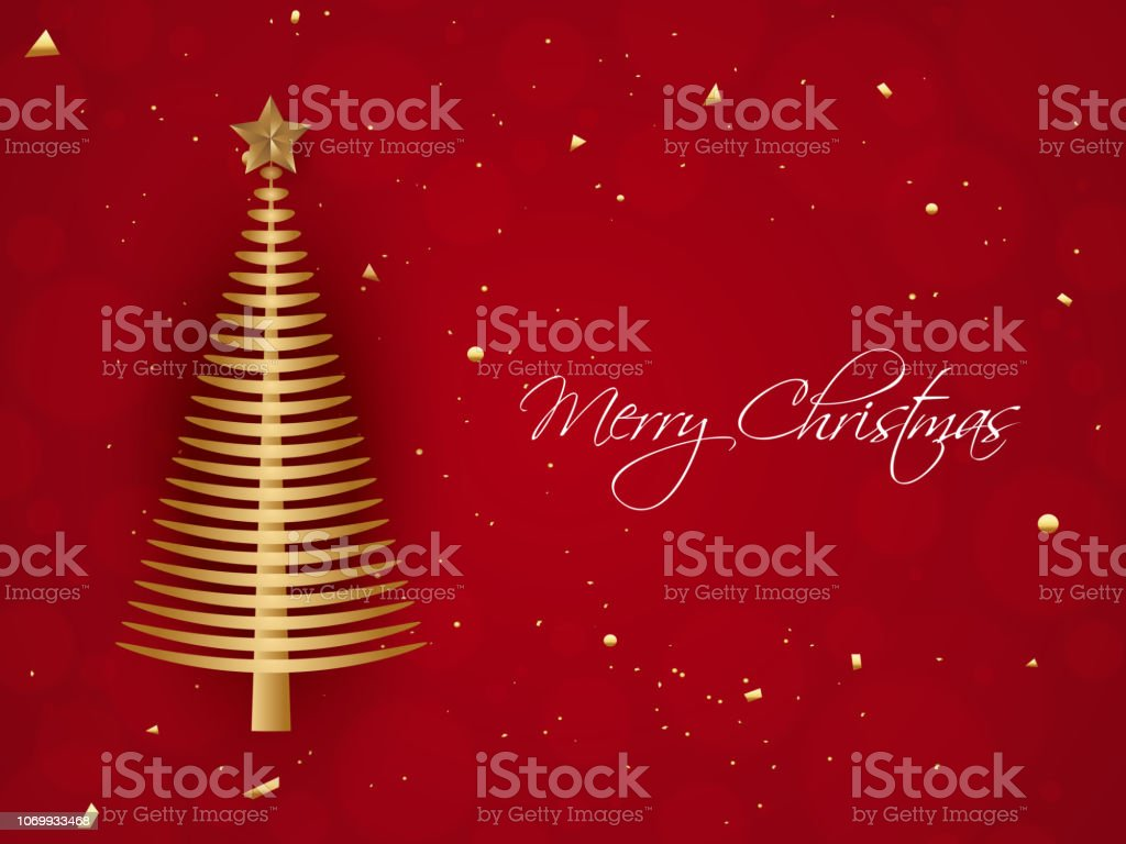 Illustration Of Xmas Tree With Star On Red Background For Merry Christmas Celebration Poster Or Greeting Card Design Stock Illustration Download Image Now Istock