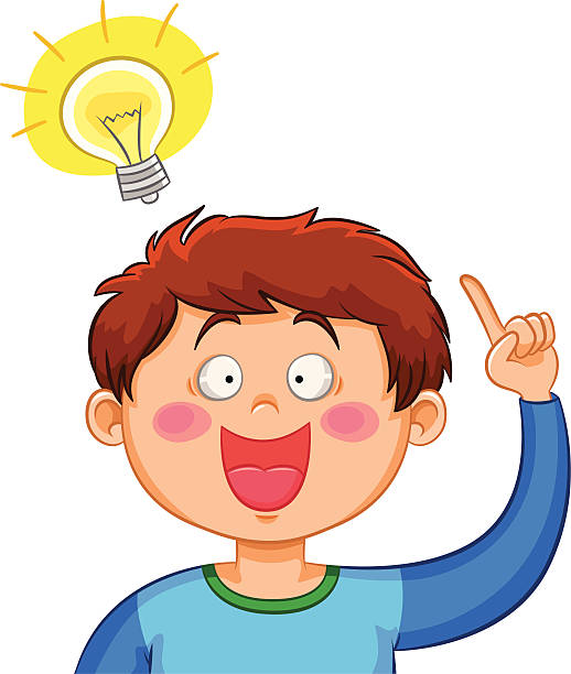 Illustration of young boy pointing to light bulb idea vector art illustration