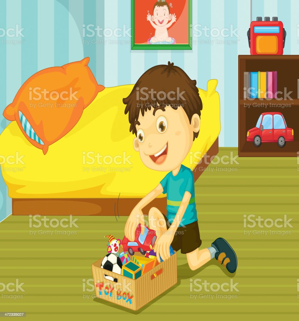 Illustration of young boy putting his toys on toy box vector art illustration