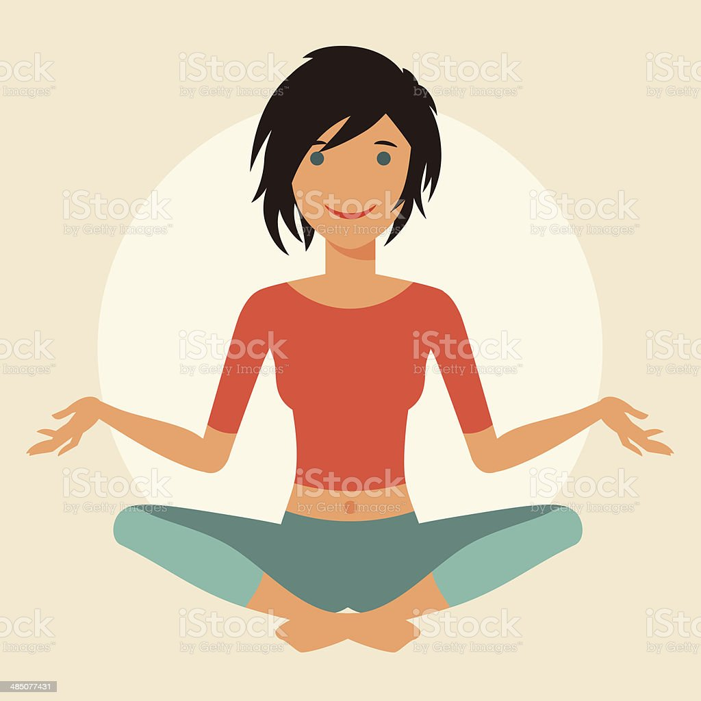 Illustration of young cute girl practice yoga. vector art illustration