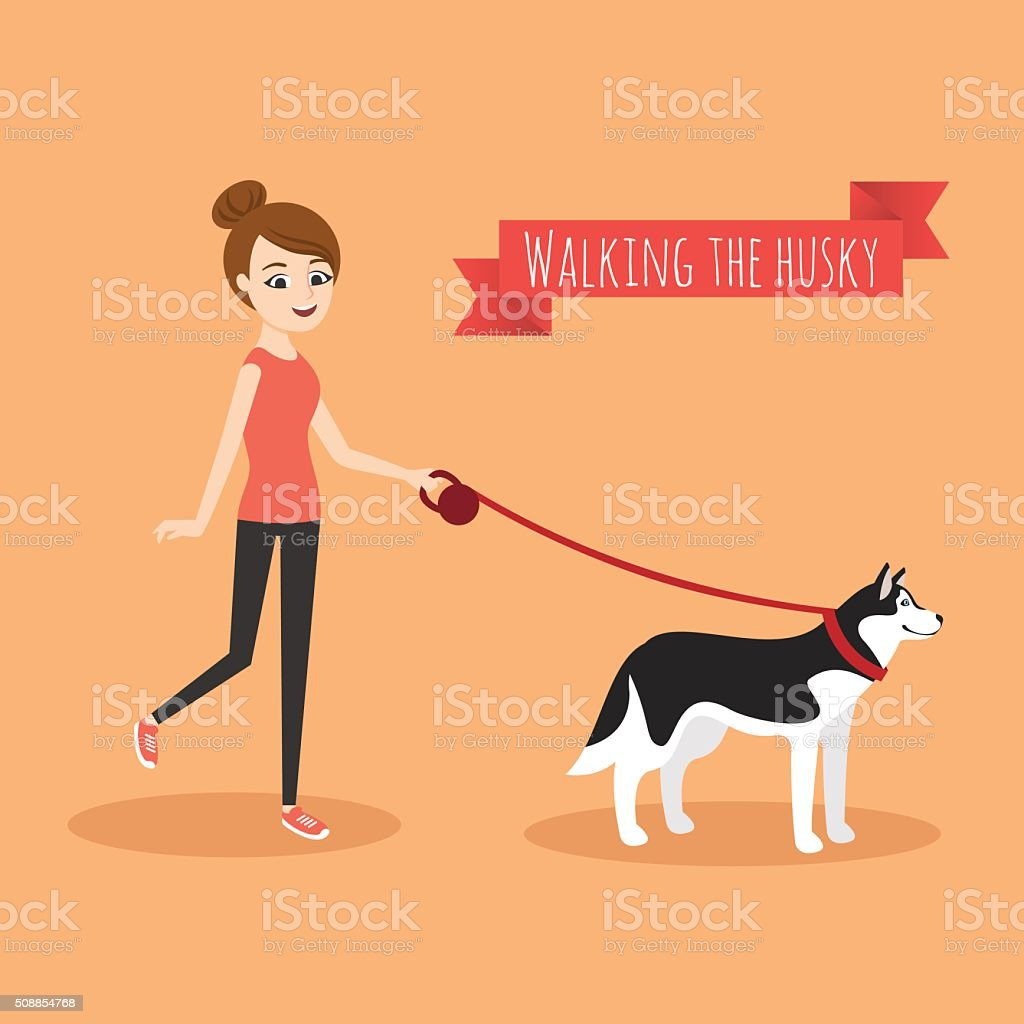 Illustration of young girl walking with her dog. vector art illustration