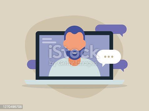istock Illustration of young man having discussion on laptop computer screen 1270495705