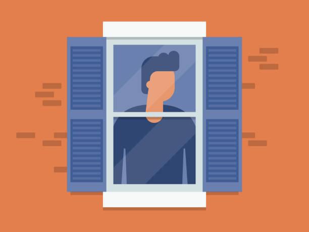 stockillustraties, clipart, cartoons en iconen met illustratie van jonge mens die uit venster kijkt - jonge mannen