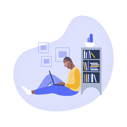 Illustration of young man using laptop at home
