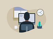 istock Illustration of young man working in tidy home office 1270513747