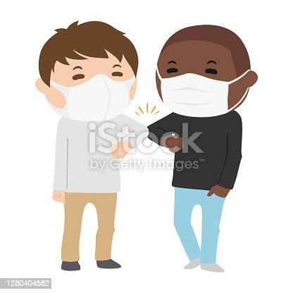 istock Illustration of young men in masks wearing elbow bumps. 1250404582