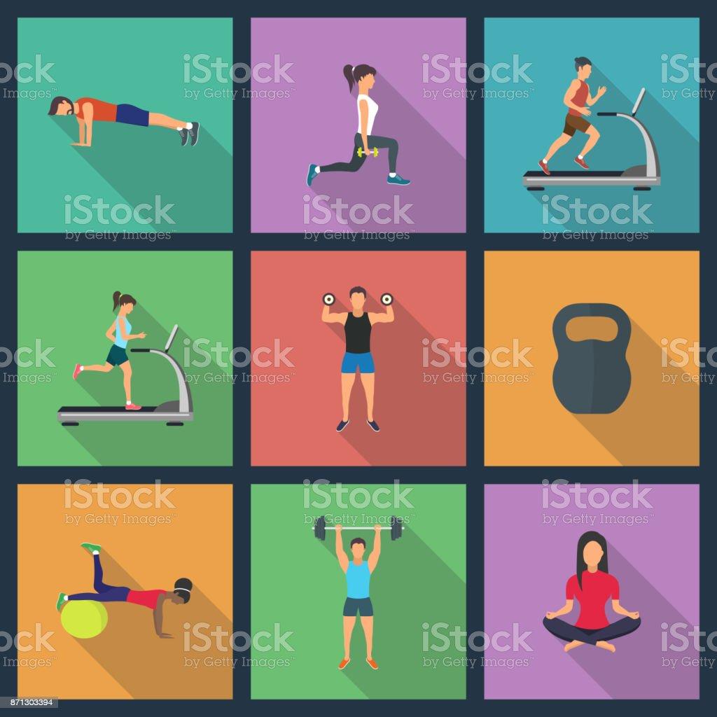 ilustração de jovens a fazer exercícios com equipamentos - ilustração de arte em vetor