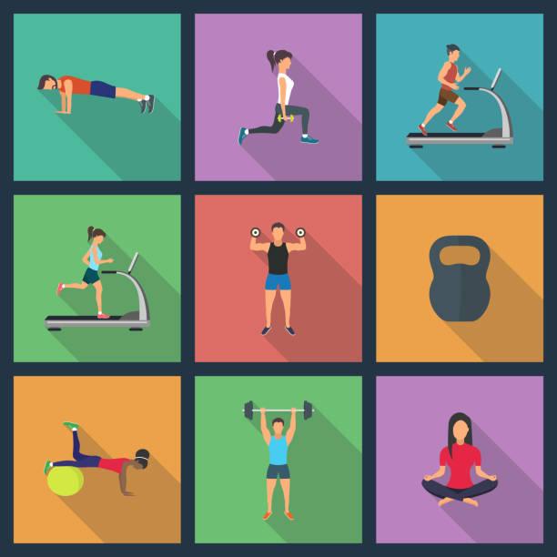 ilustrações, clipart, desenhos animados e ícones de ilustração de jovens a fazer exercícios com equipamentos - personal trainer