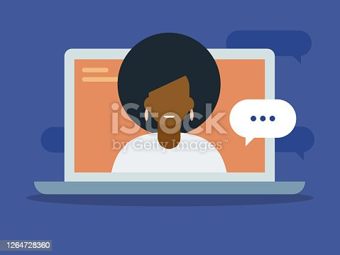 istock Illustration of young woman having discussion on laptop computer screen 1264728360