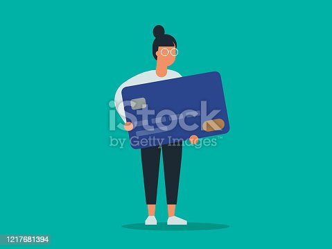 istock Illustration of young woman holding giant credit card 1217681394