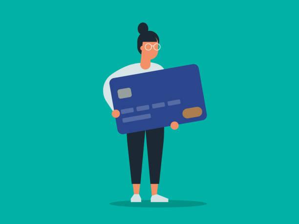 거대한 신용 카드를 들고 있는 젊은 여성의 일러스트 - credit card stock illustrations