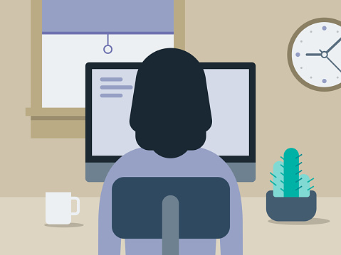 Illustration of young woman working in tidy home office