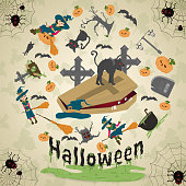 istock illustration of_11_all saints eve, Halloween, circular ornament at the corners of the web with spiders drawings in the circle placed randomly 1166313965