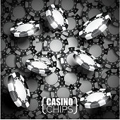 Vector illustration on a casino theme with black playing chips. Eps 10 design. Image contain transparency.