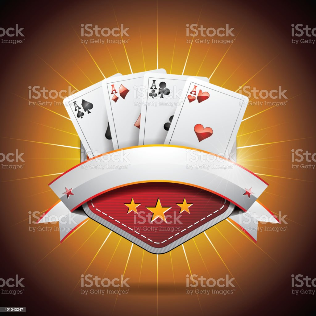 Illustration on a casino theme with poker card and ribbon royalty-free stock vector art