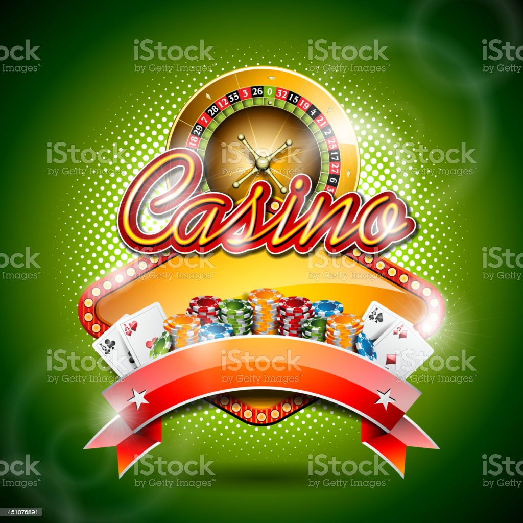 illustration on a casino theme with roulette wheel and ribbon royalty-free stock vector art