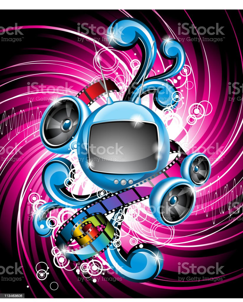 Illustration on a media and musical theme. royalty-free stock vector art