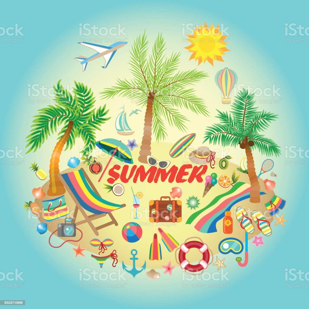 Illustration on a summer holiday theme with paradise island on sea background. vector art illustration