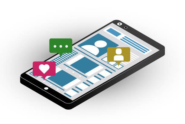 關於社交網路的主題的說明。像馬克, 評論, 朋友的智慧手機。等距.向量藝術插圖