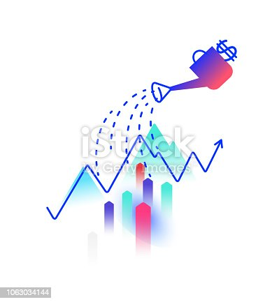 Illustration on the topic of financial income. Vector. Profit and investment. Watering can water the profit chart. Image is isolated on a white background. Logo for the company. Growth of money.