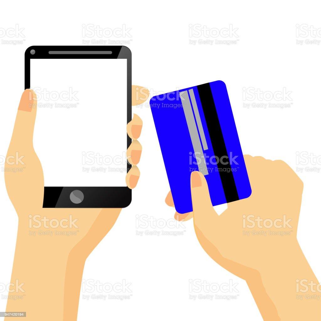 ec karte indonesien Abbildung Onlineshop Hand Holding Schwarz Smartphone Und Kredit