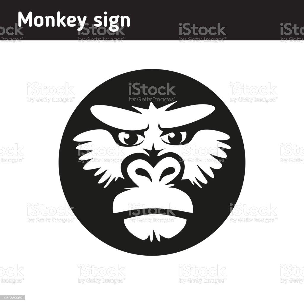 Abbildung Oder Zeichen In Form Von Einem Affengesicht Stock Vektor ...