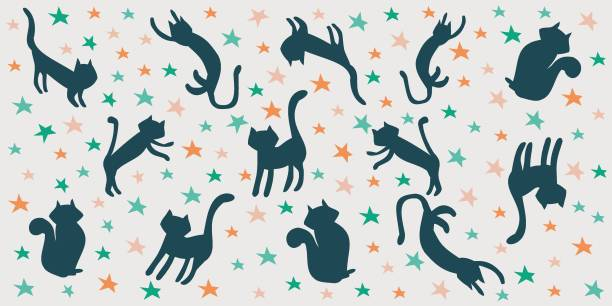 Illustration pattern of black cats jumping among the stars. Halloween vector art illustration