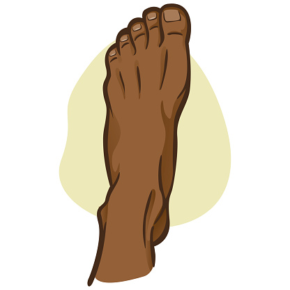 Illustration person, human foot, afro descendant, top view. Ideal for catalogs, informational and institutional guides