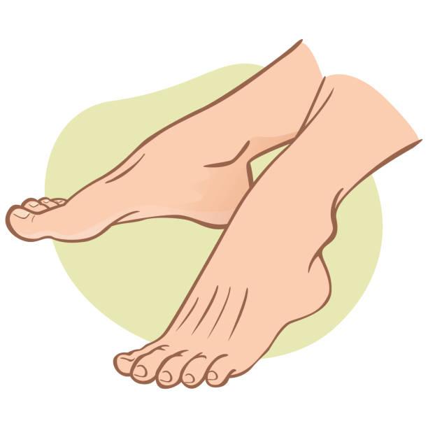 abbildung person, paar menschliche füße, kaukasischen, seitenansicht. ideal für kataloge, informative und institutionellen guides - fußpflegeprodukte stock-grafiken, -clipart, -cartoons und -symbole