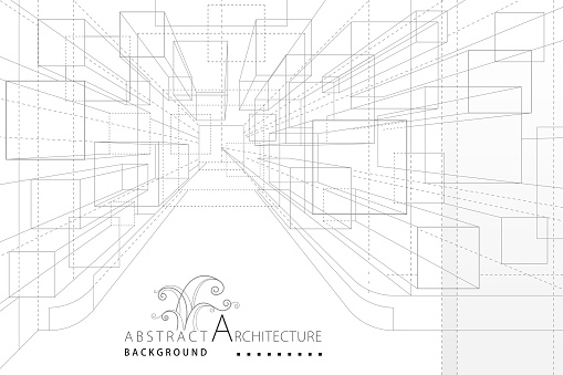 3D illustration Perspective Interior Architecture Line Drawing Abstract Background.