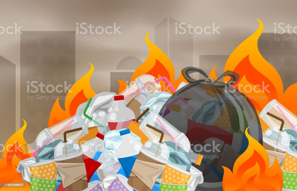 illustration pollution from waste plastic incineration in urban, garbage waste disposal with burnt incinerate, fire flame garbage burning and smoke air polluted, fire smoke burn garbage waste plastic - Royalty-free Alterações climáticas arte vetorial