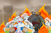illustration pollution from waste plastic incineration in urban, garbage waste disposal with burnt incinerate, fire flame garbage burning and smoke air polluted, fire smoke burn garbage waste plastic